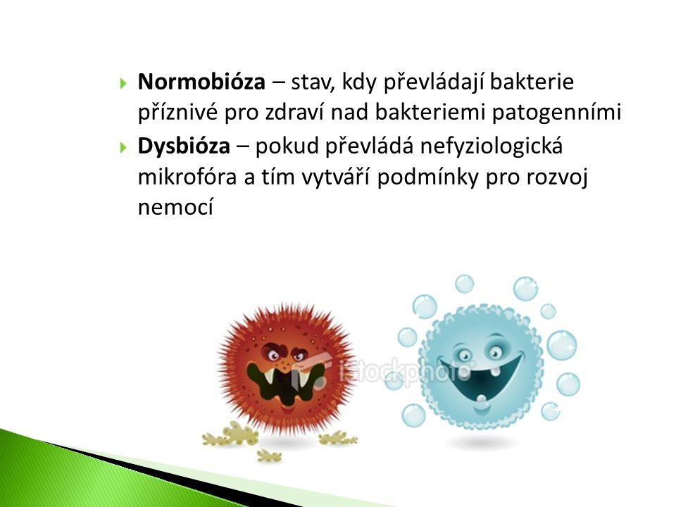  Normobióza – stav, kdy převládají bakterie příznivé pro zdraví nad bakteriemi patogenními  Dysbióza – pokud převládá nefyziologická mikrofóra a tím