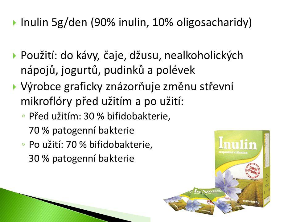  Inulin 5g/den (90% inulin, 10% oligosacharidy)  Použití: do kávy, čaje, džusu, nealkoholických nápojů, jogurtů, pudinků a polévek  Výrobce grafick