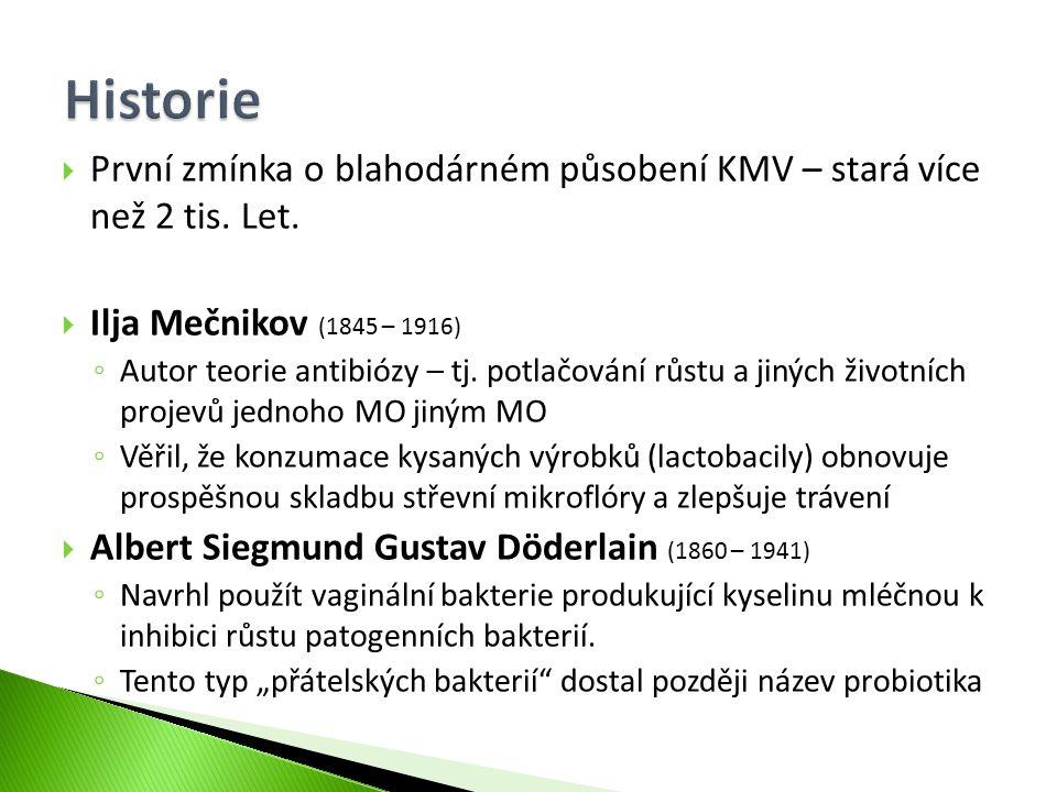  První zmínka o blahodárném působení KMV – stará více než 2 tis. Let.  Ilja Mečnikov (1845 – 1916) ◦ Autor teorie antibiózy – tj. potlačování růstu