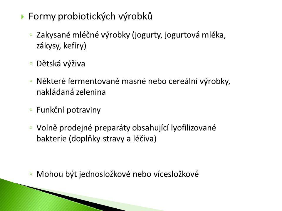  Formy probiotických výrobků ◦ Zakysané mléčné výrobky (jogurty, jogurtová mléka, zákysy, kefíry) ◦ Dětská výživa ◦ Některé fermentované masné nebo c