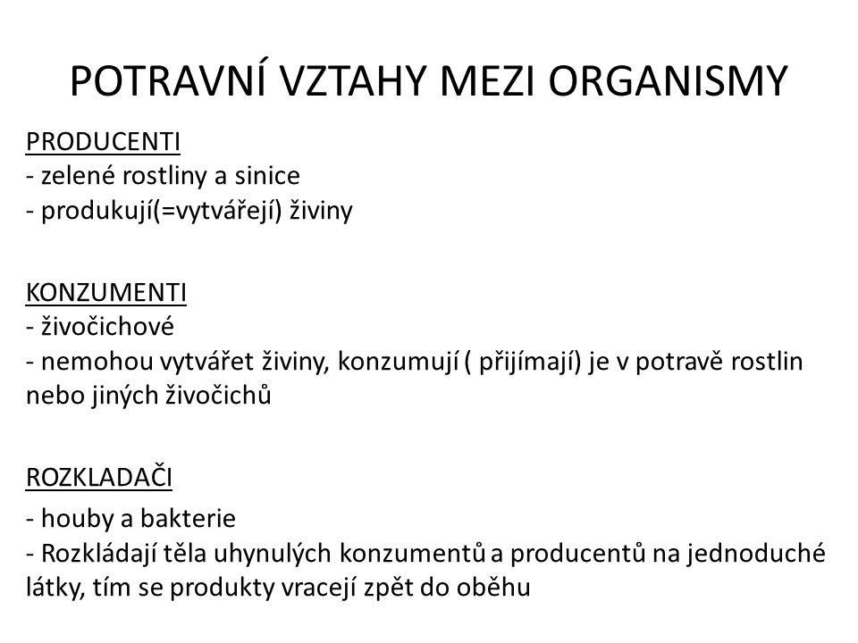 VZTAHY mezi ORGANISMY
