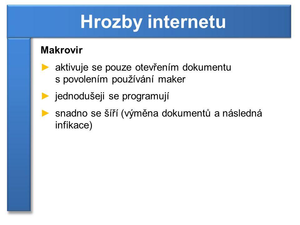 Makrovir ►aktivuje se pouze otevřením dokumentu s povolením používání maker ►jednodušeji se programují ►snadno se šíří (výměna dokumentů a následná infikace) Hrozby internetu