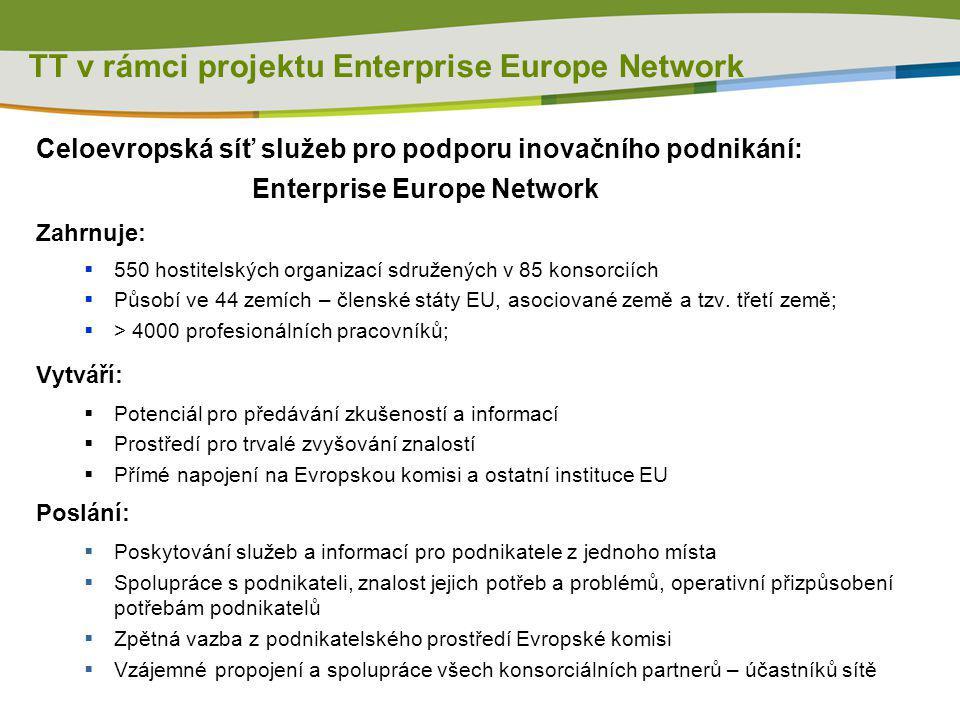TT v rámci projektu Enterprise Europe Network Celoevropská síť služeb pro podporu inovačního podnikání: Enterprise Europe Network Zahrnuje:  550 host