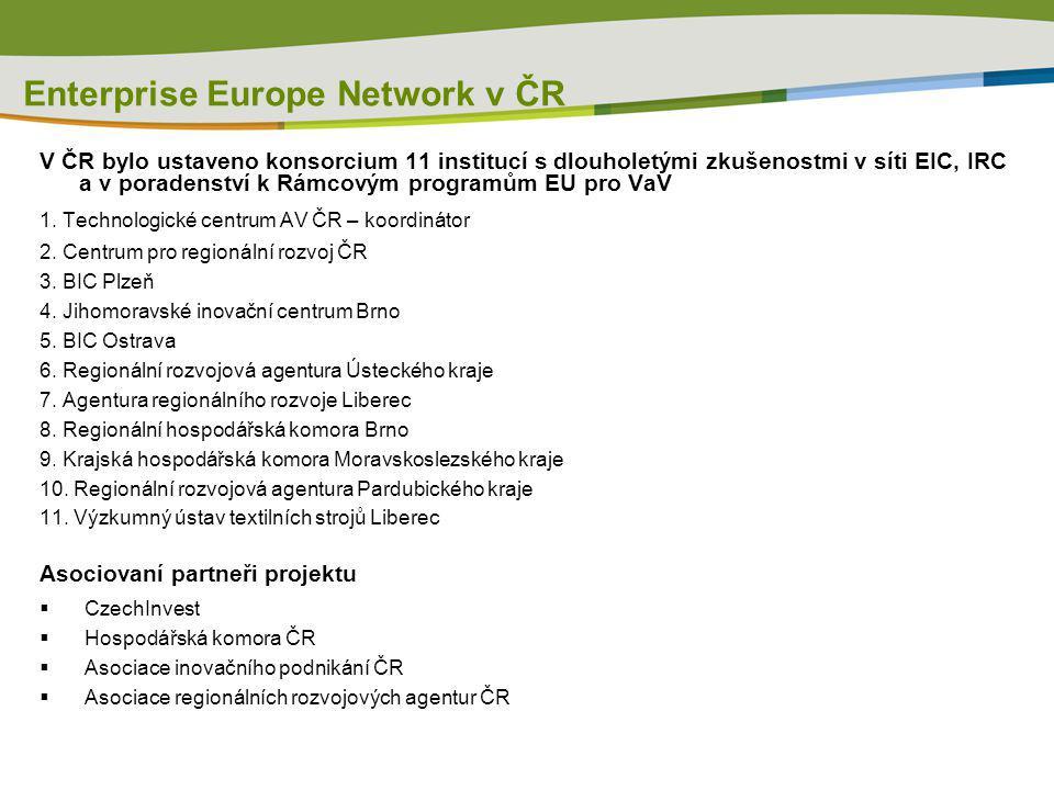 Enterprise Europe Network v ČR V ČR bylo ustaveno konsorcium 11 institucí s dlouholetými zkušenostmi v síti EIC, IRC a v poradenství k Rámcovým progra