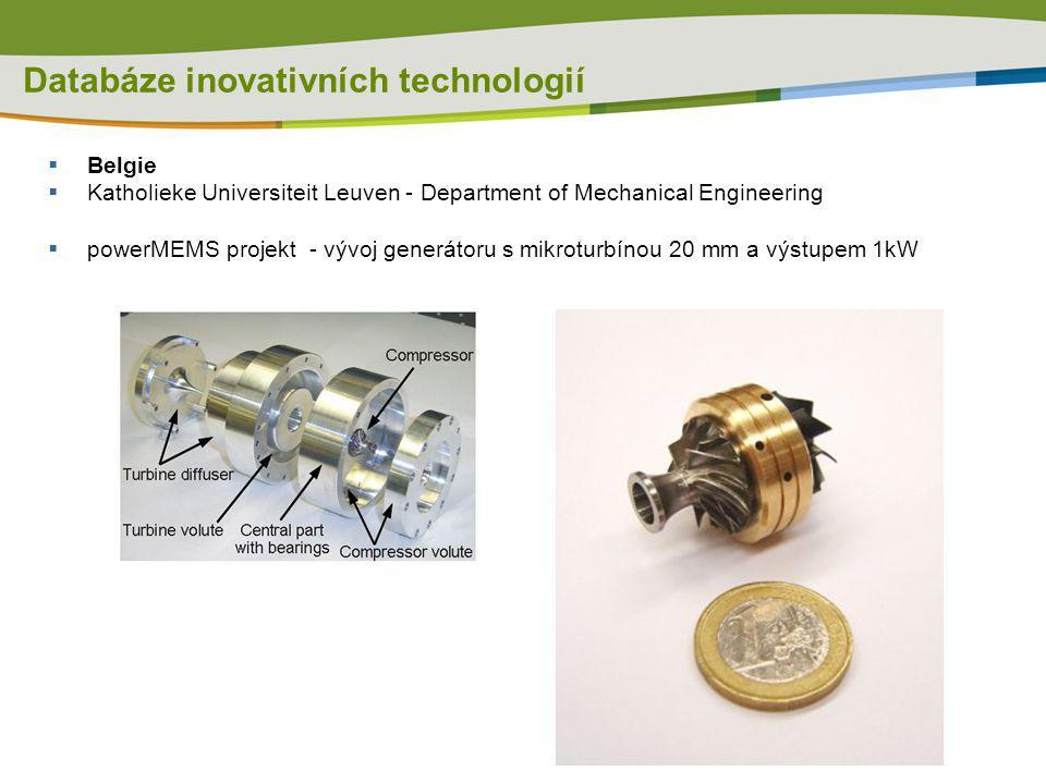 Databáze inovativních technologií  Belgie  Katholieke Universiteit Leuven - Department of Mechanical Engineering  powerMEMS projekt - vývoj generát