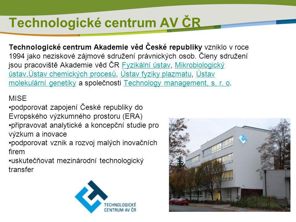 Technologické centrum Akademie věd České republiky vzniklo v roce 1994 jako neziskové zájmové sdružení právnických osob. Členy sdružení jsou pracovišt