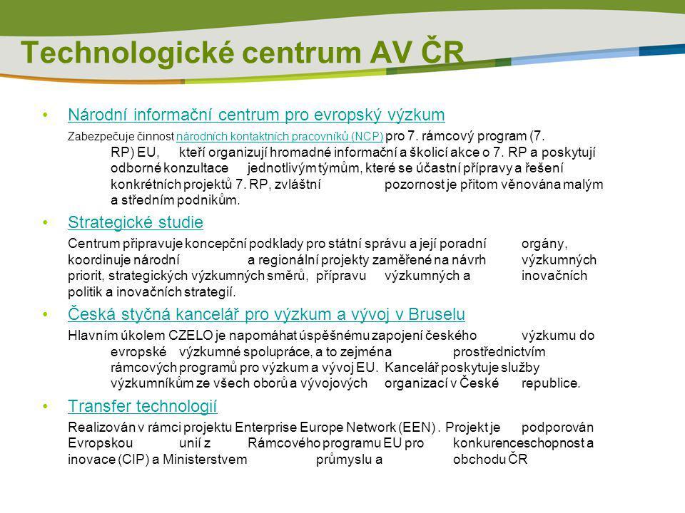 Informace o síti Enterprise Europe Network – ČR www.enterprise-europe-network.czwww.enterprise-europe-network.cz / www.een.czwww.een.cz Enterprise Europe Network – EU http://ec.europa.eu/enterprise-europe-network Koordinátor projektu v ČR Technologické centrum AV ČR Ve Struhách 27 160 00 Praha 6 – Bubeneč www.tc.cz