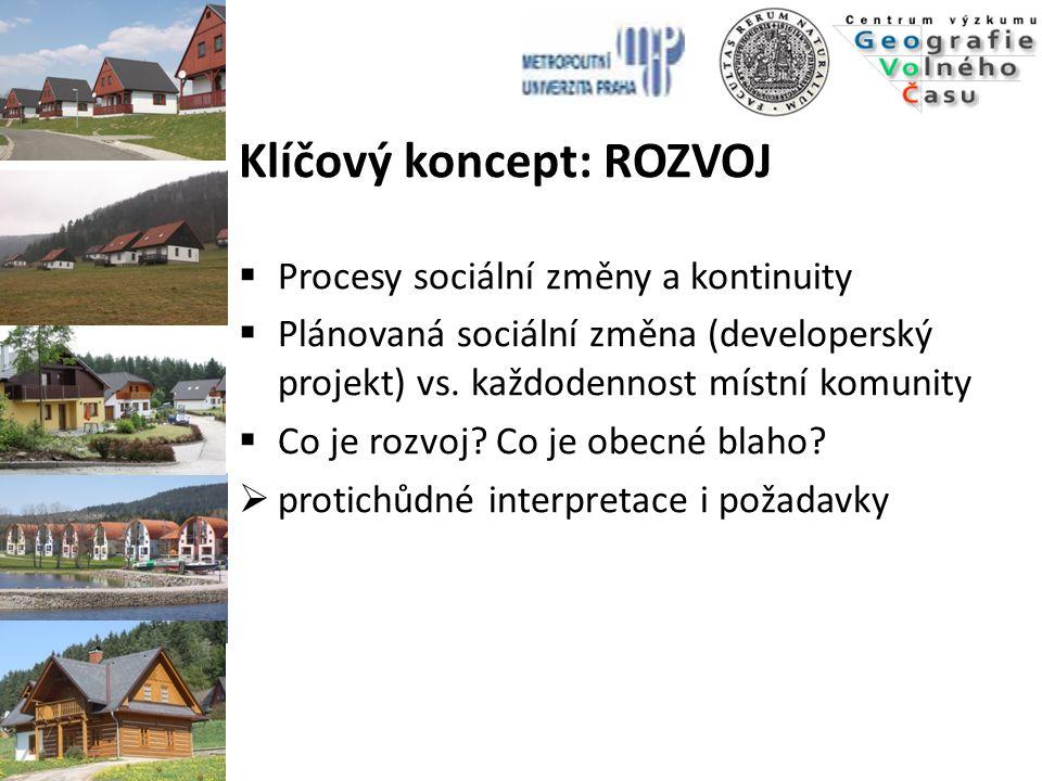 Klíčový koncept: ROZVOJ  Procesy sociální změny a kontinuity  Plánovaná sociální změna (developerský projekt) vs. každodennost místní komunity  Co