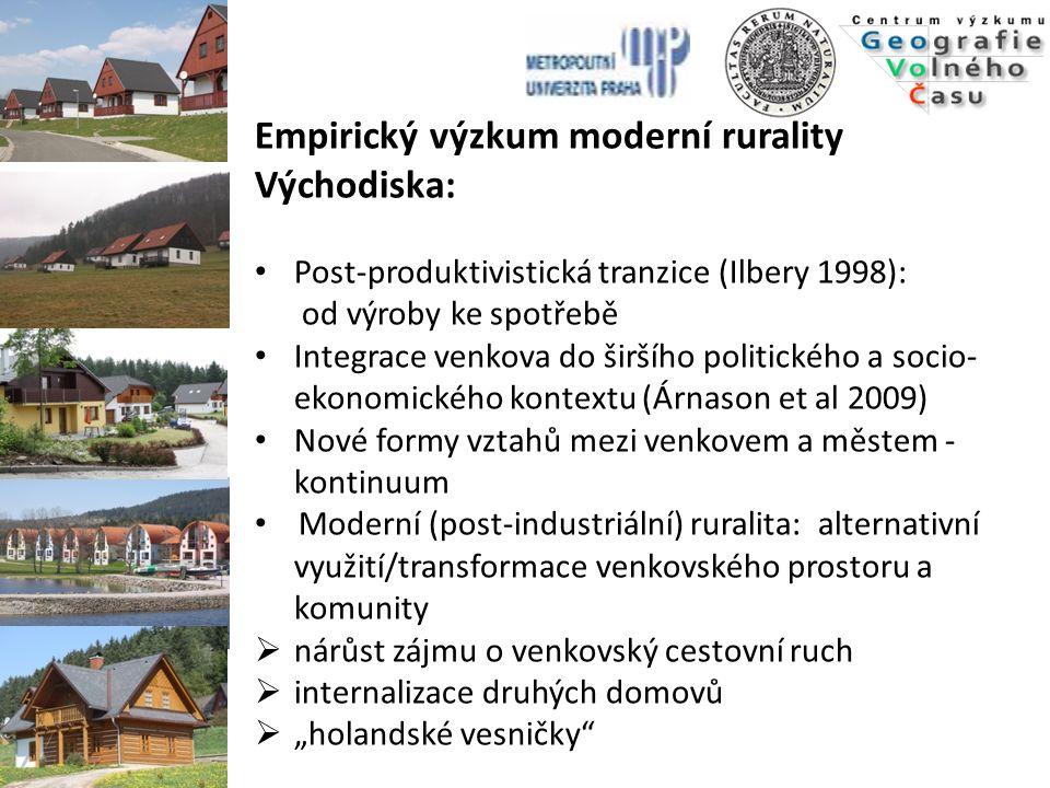 Empirický výzkum moderní rurality Východiska: Post-produktivistická tranzice (Ilbery 1998): od výroby ke spotřebě Integrace venkova do širšího politic