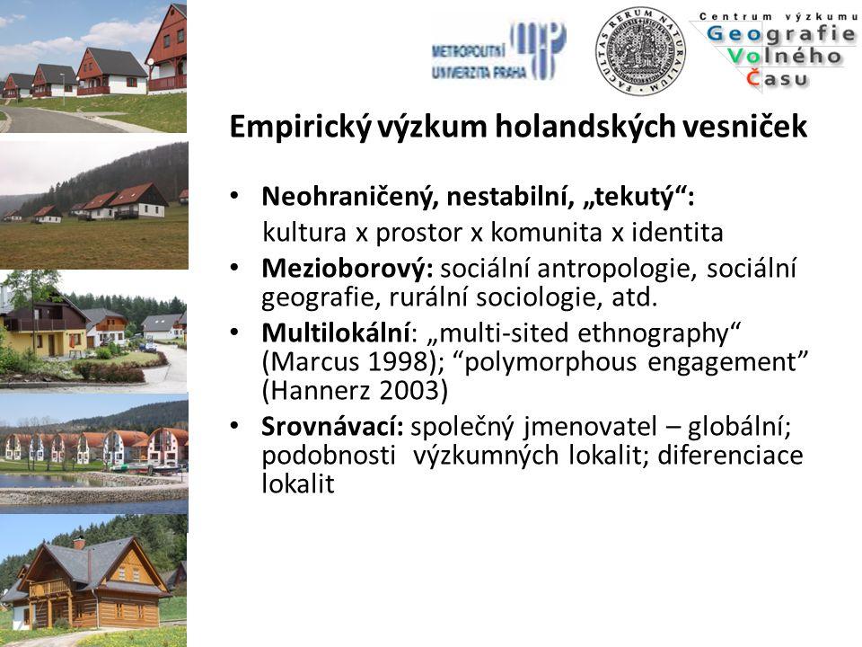 Cíl výzkumného projektu  Komplexní srovnávací analýza procesu transformace a strategie rozvoje pěti rurálních společenství v České republice, v nichž se v posledním desetiletí rozvíjí specifická forma mezinárodního venkovského turismu zahrnující druhé domovy a rekreační komplexy  Zkoumání vlivu soudobých forem dobrovolné mobility a mezinárodního turismu na místní sociální realitu  Výzkum probíhající socio-ekonomické, politické, kulturní a demografické transformace v dotčených rurálních komunitách