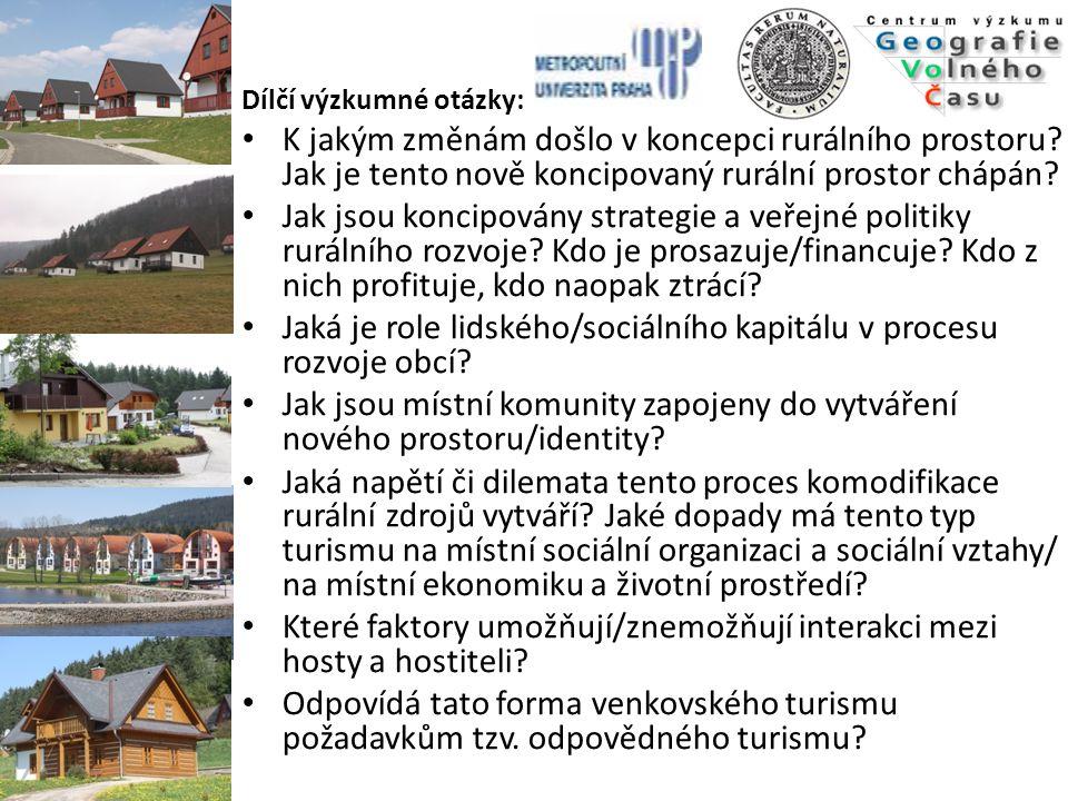 KONCEPČNÍ RÁMEC  Antropologie turismu: antropologie malých společenství (small-scale communities) Současná literatura na turismus: 1)zaměřená na turisty - motivace (McCannell 1976; Graburn 1983; Nash 1981) 2) zaměřená na hostitele (dopady) – Smith 1977, 2001; Boissevain 1996 3) mezikulturní interakce (Jack, Phipps 2005)  turismus jako rozvoj (de Kadt 1979; Burns 1999)  vztah mezi hosty a hostiteli (Smith 1977, 2001)