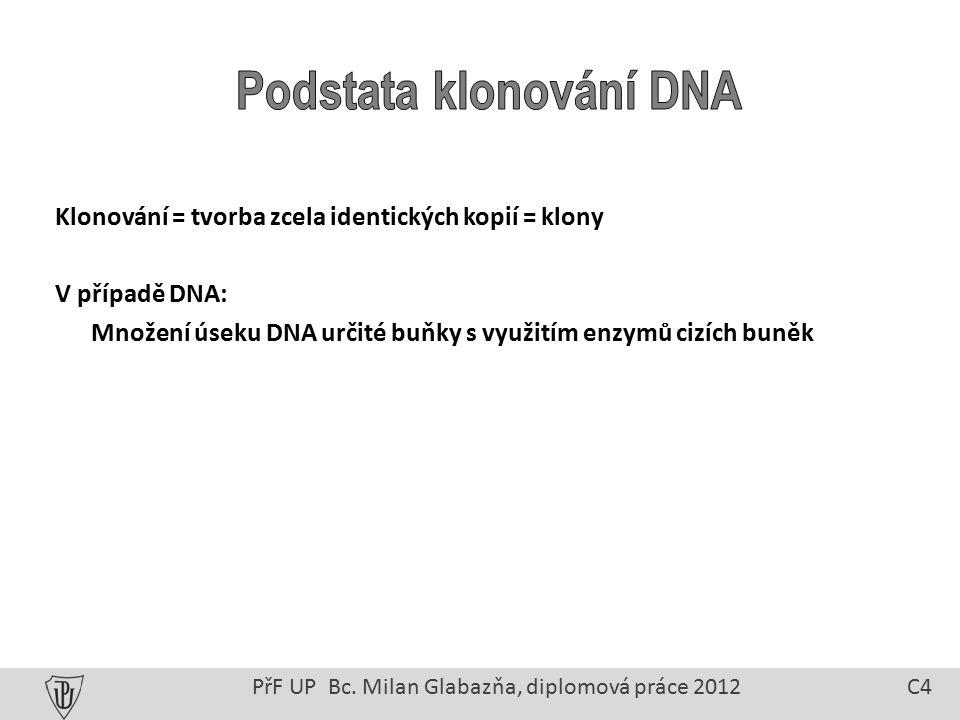 Klonování = tvorba zcela identických kopií = klony V případě DNA: Množení úseku DNA určité buňky s využitím enzymů cizích buněk PřF UP Bc.