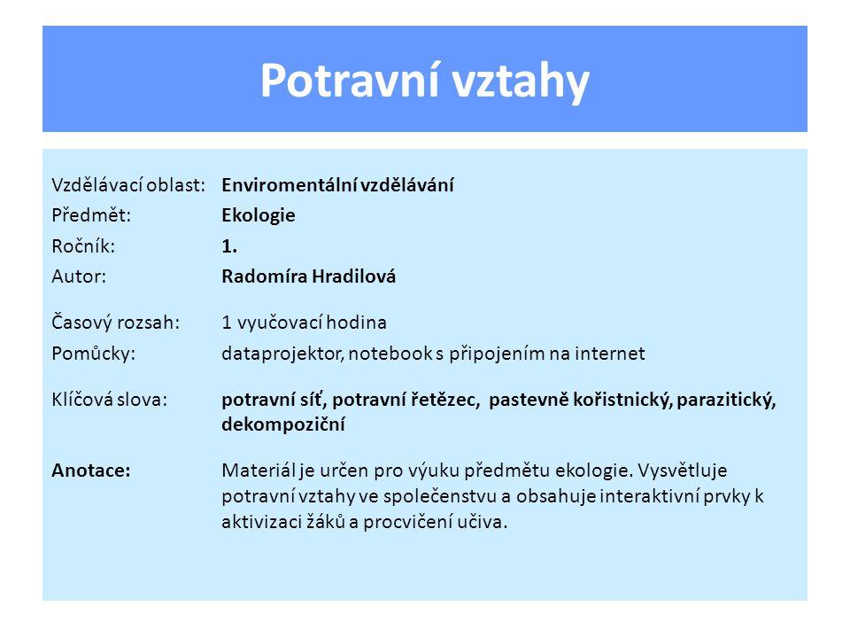 Potravní vztahy Vzdělávací oblast:Enviromentální vzdělávání Předmět:Ekologie Ročník:1.