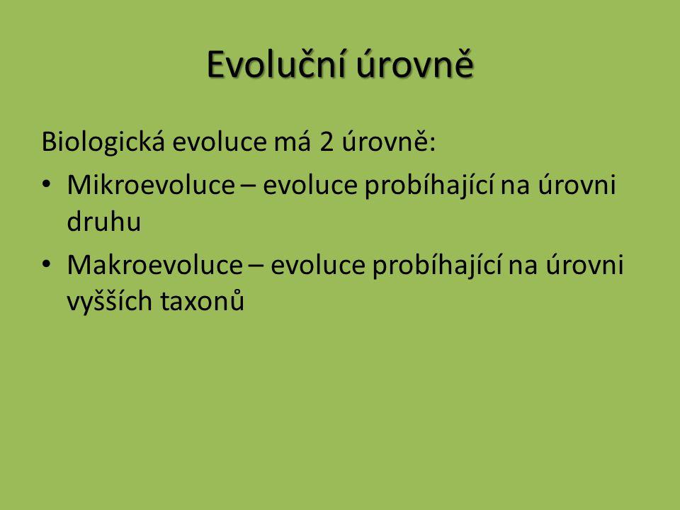 Evoluční úrovně Biologická evoluce má 2 úrovně: Mikroevoluce – evoluce probíhající na úrovni druhu Makroevoluce – evoluce probíhající na úrovni vyššíc