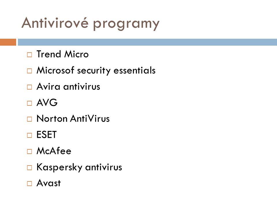 Antivirové programy  Trend Micro  Microsof security essentials  Avira antivirus  AVG  Norton AntiVirus  ESET  McAfee  Kaspersky antivirus  Av