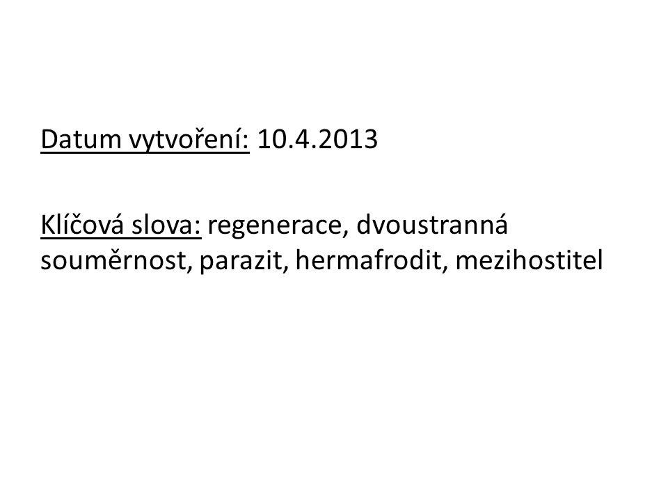 Datum vytvoření: 10.4.2013 Klíčová slova: regenerace, dvoustranná souměrnost, parazit, hermafrodit, mezihostitel