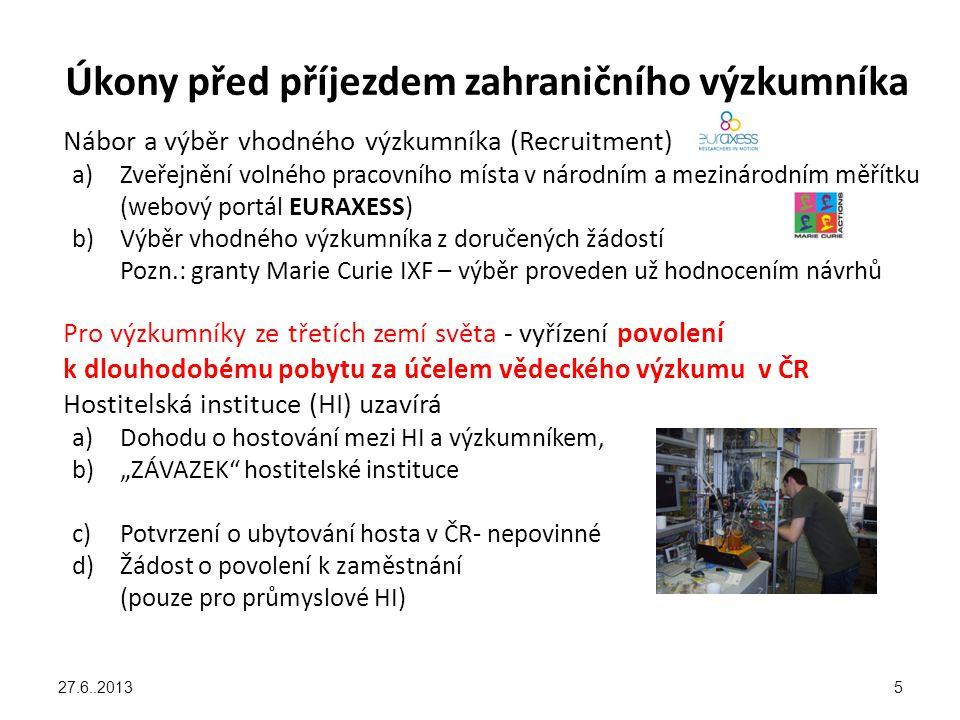 Uzavření pracovní smlouvy Mezi hostitelskou organizací a zahraničním výzkumníkem musí vzniknout pracovně právní vztah na dobu určitou (PPV) Je to ZÁVISLÁ ČINNOST ne studium, přísluší mzda ne stipendium PPV se řídí: Běžnými zvyklostmi v dané organizaci Grantovou dohodou projektu, u 7.RP MC její přílohou III = Annex III Na VŠCHT Praha se uzavírá Dodatková dohoda k běžné pracovní smlouvě Uzavřením PPV získává výzkumník stejné postavení jako ostatní výzkumníci – nárok na přístup do administrativního a manažerského systému – na intranet a do počítačové sítě organizace – získá zaměstnanecké benefity (např.