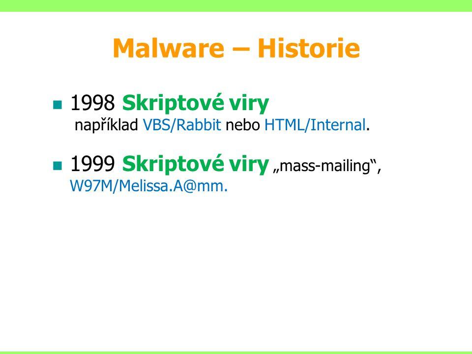 """1998 Skriptové viry například VBS/Rabbit nebo HTML/Internal. 1999 Skriptové viry """"mass-mailing"""", W97M/Melissa.A@mm. Malware – Historie"""