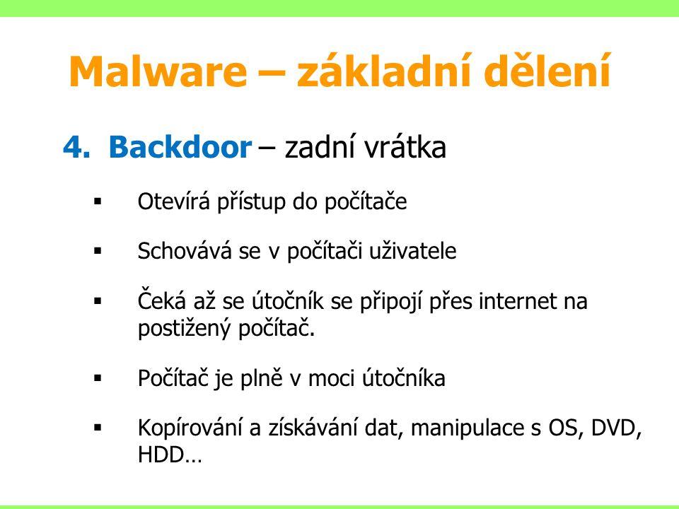 Malware – základní dělení 4.Backdoor – zadní vrátka  Otevírá přístup do počítače  Schovává se v počítači uživatele  Čeká až se útočník se připojí p