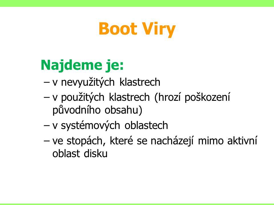 Boot Viry Najdeme je: –v nevyužitých klastrech –v použitých klastrech (hrozí poškození původního obsahu) –v systémových oblastech –ve stopách, které s