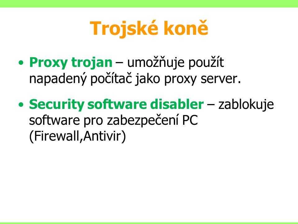 Trojské koně Proxy trojan – umožňuje použít napadený počítač jako proxy server. Security software disabler – zablokuje software pro zabezpečení PC (Fi
