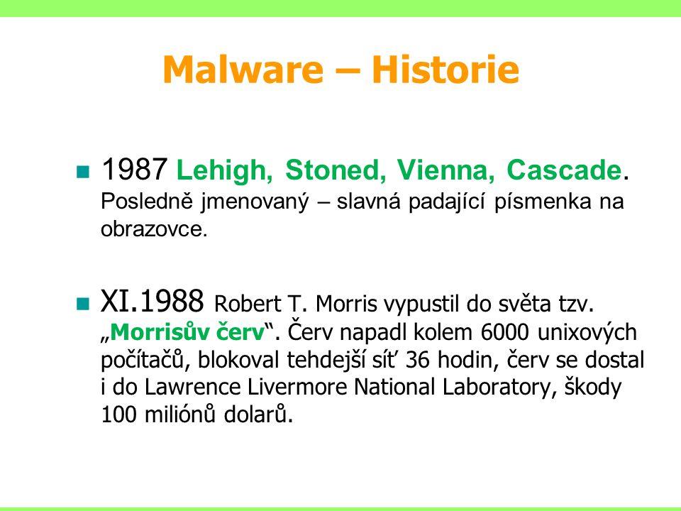 Malware – Historie 1987 Lehigh, Stoned, Vienna, Cascade. Posledně jmenovaný – slavná padající písmenka na obrazovce. XI.1988 Robert T. Morris vypustil