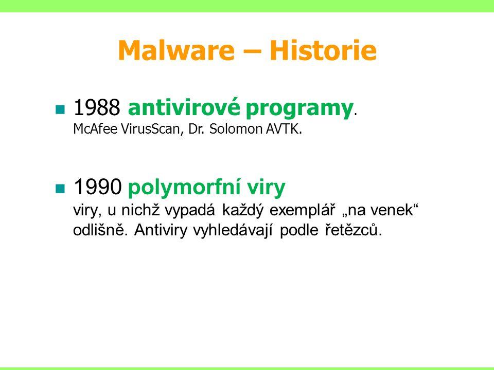 """1988 antivirové programy. McAfee VirusScan, Dr. Solomon AVTK. 1990 polymorfní viry viry, u nichž vypadá každý exemplář """"na venek"""" odlišně. Antiviry vy"""
