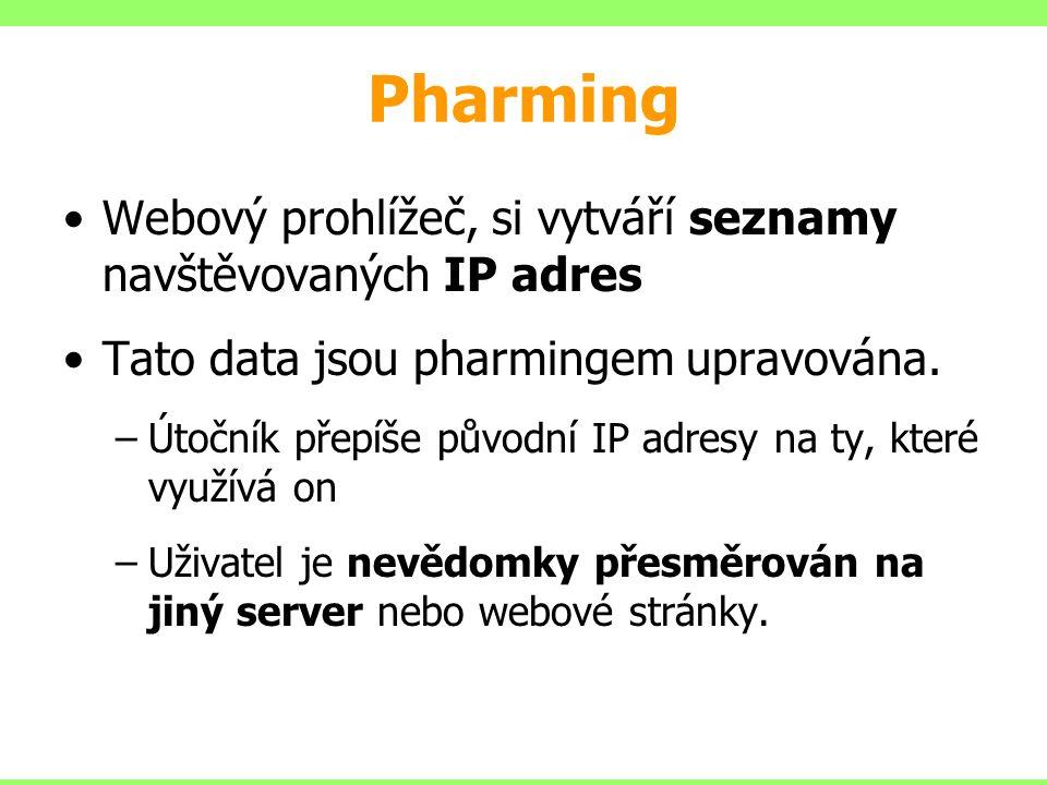 Pharming Webový prohlížeč, si vytváří seznamy navštěvovaných IP adres Tato data jsou pharmingem upravována. –Útočník přepíše původní IP adresy na ty,