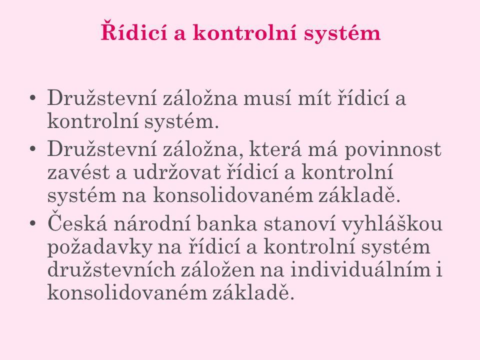 Řídicí a kontrolní systém Družstevní záložna musí mít řídicí a kontrolní systém.
