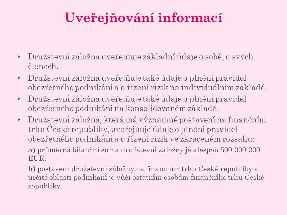 Uveřejňování informací Družstevní záložna uveřejňuje základní údaje o sobě, o svých členech.
