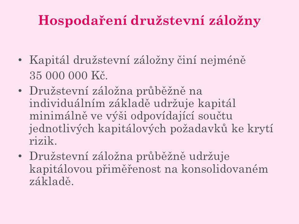 Hospodaření družstevní záložny Kapitál družstevní záložny činí nejméně 35 000 000 Kč.