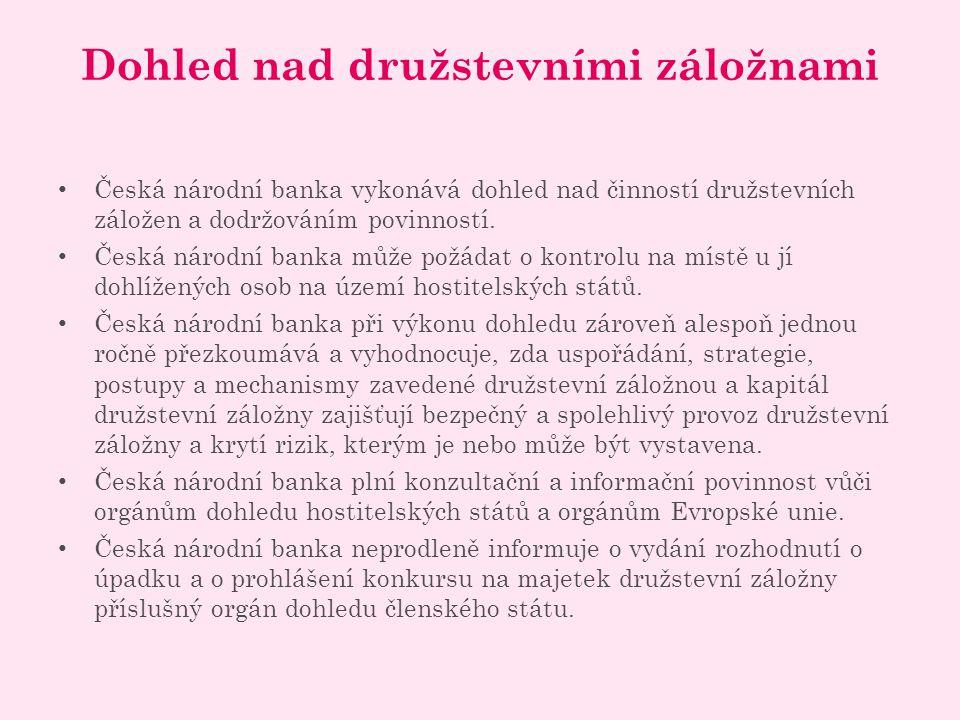Dohled nad družstevními záložnami Česká národní banka vykonává dohled nad činností družstevních záložen a dodržováním povinností.