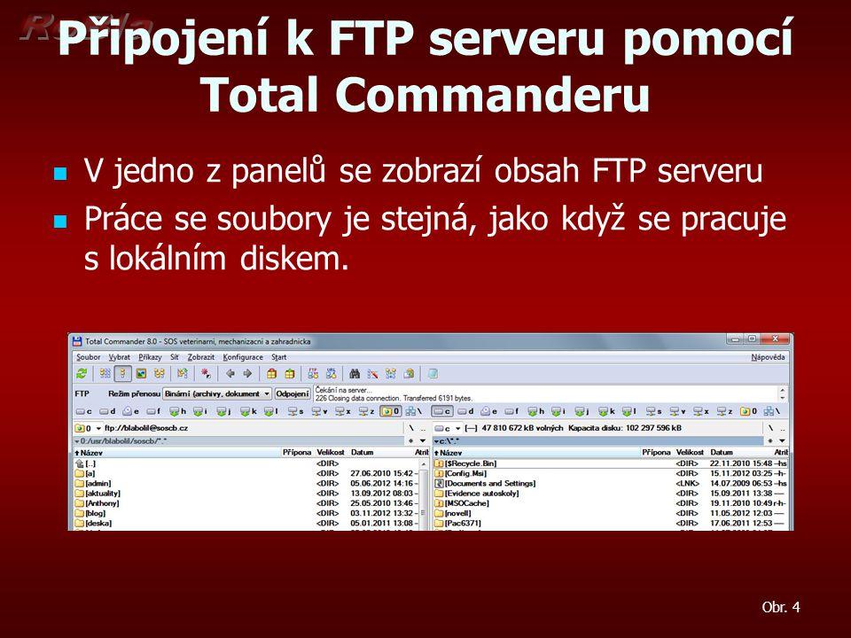 Připojení k FTP serveru pomocí Total Commanderu V jedno z panelů se zobrazí obsah FTP serveru Práce se soubory je stejná, jako když se pracuje s lokálním diskem.
