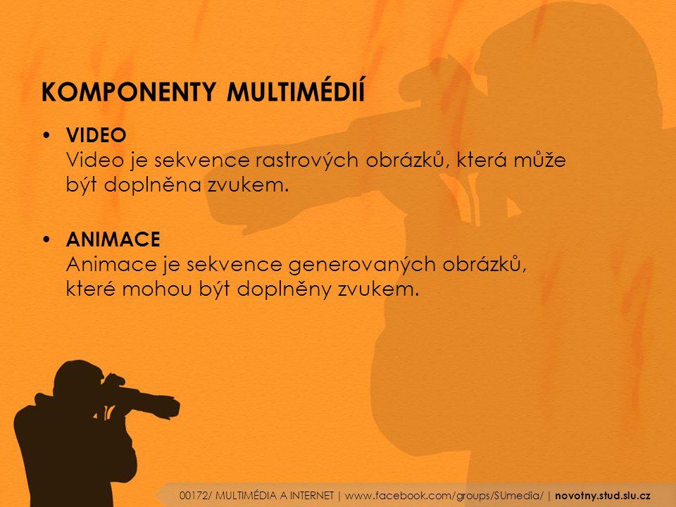 KOMPONENTY MULTIMÉDIÍ VIDEO Video je sekvence rastrových obrázků, která může být doplněna zvukem. ANIMACE Animace je sekvence generovaných obrázků, kt