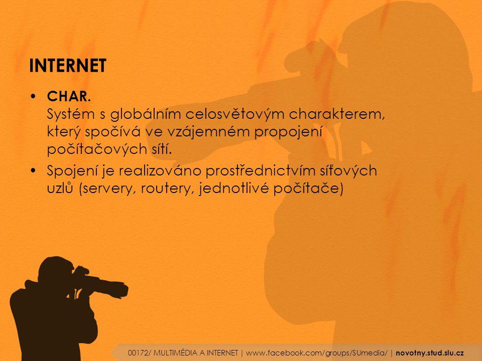 INTERNET CHAR. Systém s globálním celosvětovým charakterem, který spočívá ve vzájemném propojení počítačových sítí. Spojení je realizováno prostřednic