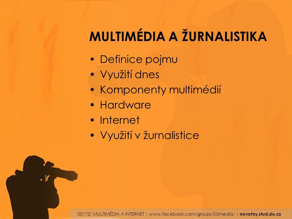 MULTIMÉDIA A ŽURNALISTIKA Definice pojmu Využití dnes Komponenty multimédií Hardware Internet Využití v žurnalistice 00172/ MULTIMÉDIA A INTERNET | ww