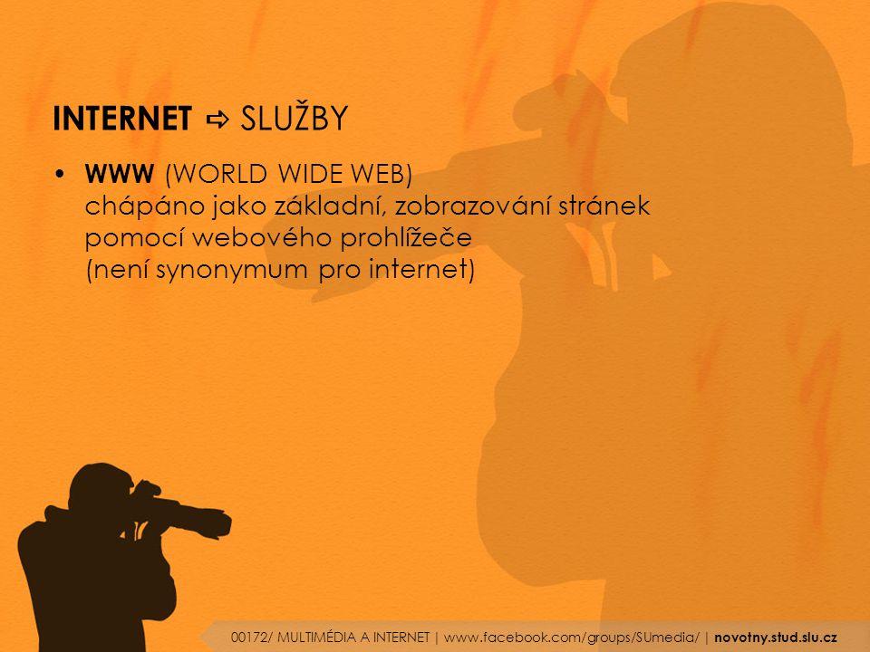 INTERNET  SLUŽBY WWW (WORLD WIDE WEB) chápáno jako základní, zobrazování stránek pomocí webového prohlížeče (není synonymum pro internet) 00172/ MULT