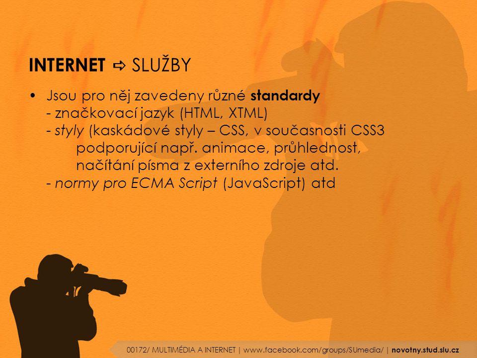 INTERNET  SLUŽBY Jsou pro něj zavedeny různé standardy - značkovací jazyk (HTML, XTML) - styly (kaskádové styly – CSS, v současnosti CSS3 podporující
