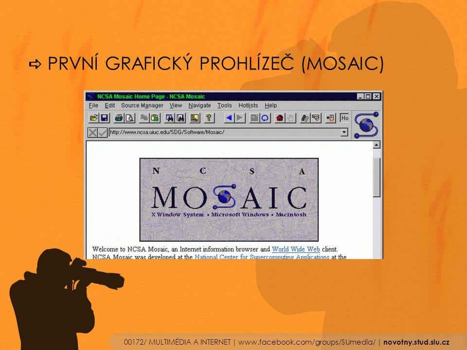  PRVNÍ GRAFICKÝ PROHLÍZEČ (MOSAIC) 00172/ MULTIMÉDIA A INTERNET | www.facebook.com/groups/SUmedia/ | novotny.stud.slu.cz