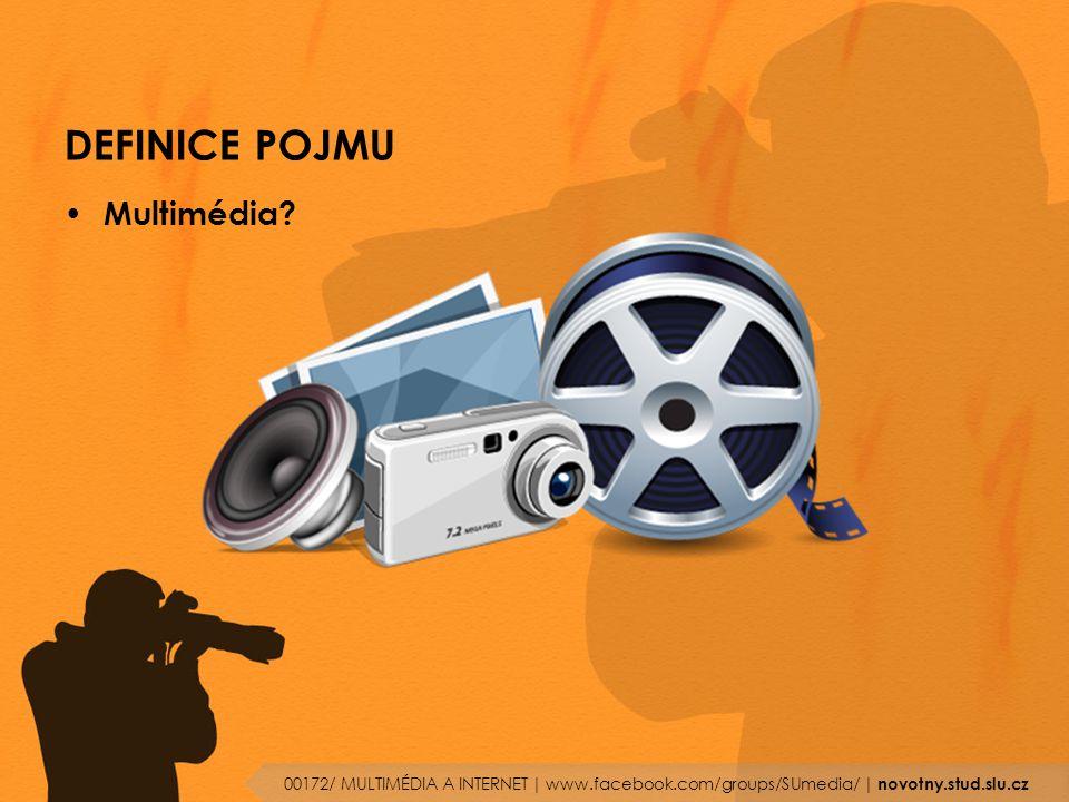 DEFINICE POJMU Multimédia? 00172/ MULTIMÉDIA A INTERNET | www.facebook.com/groups/SUmedia/ | novotny.stud.slu.cz