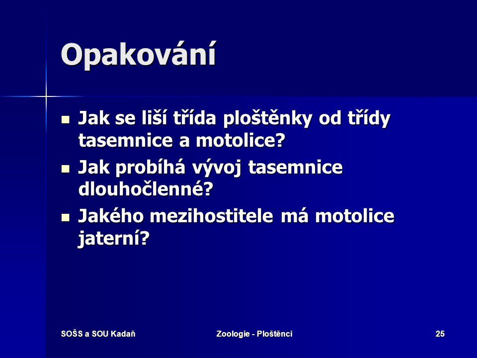 SOŠS a SOU KadaňZoologie - Ploštěnci24 Vyhodnocení 1.d 2.a 3.b 4.c