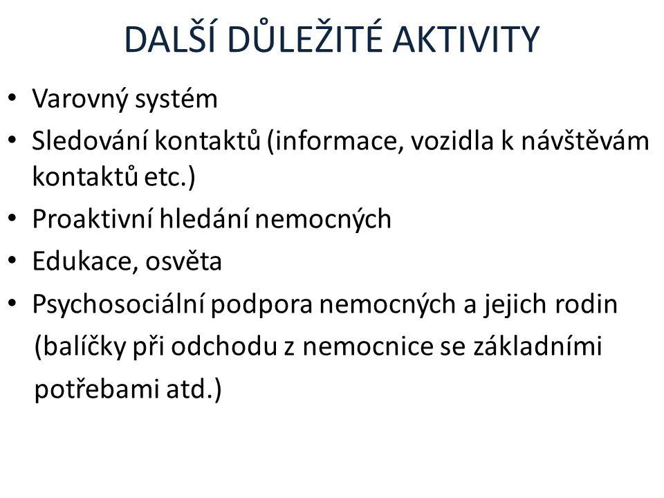 DALŠÍ DŮLEŽITÉ AKTIVITY Varovný systém Sledování kontaktů (informace, vozidla k návštěvám kontaktů etc.) Proaktivní hledání nemocných Edukace, osvěta
