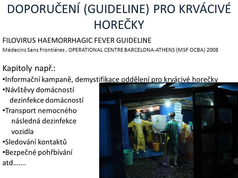 DOPORUČENÍ (GUIDELINE) PRO KRVÁCIVÉ HOREČKY FILOVIRUS HAEMORRHAGIC FEVER GUIDELINE Médecins Sans Frontiéres, OPERATIONAL CENTRE BARCELONA-ATHENS (MSF
