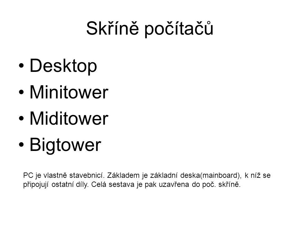 Skříně počítačů Desktop Minitower Miditower Bigtower PC je vlastně stavebnicí. Základem je základní deska(mainboard), k níž se připojují ostatní díly.