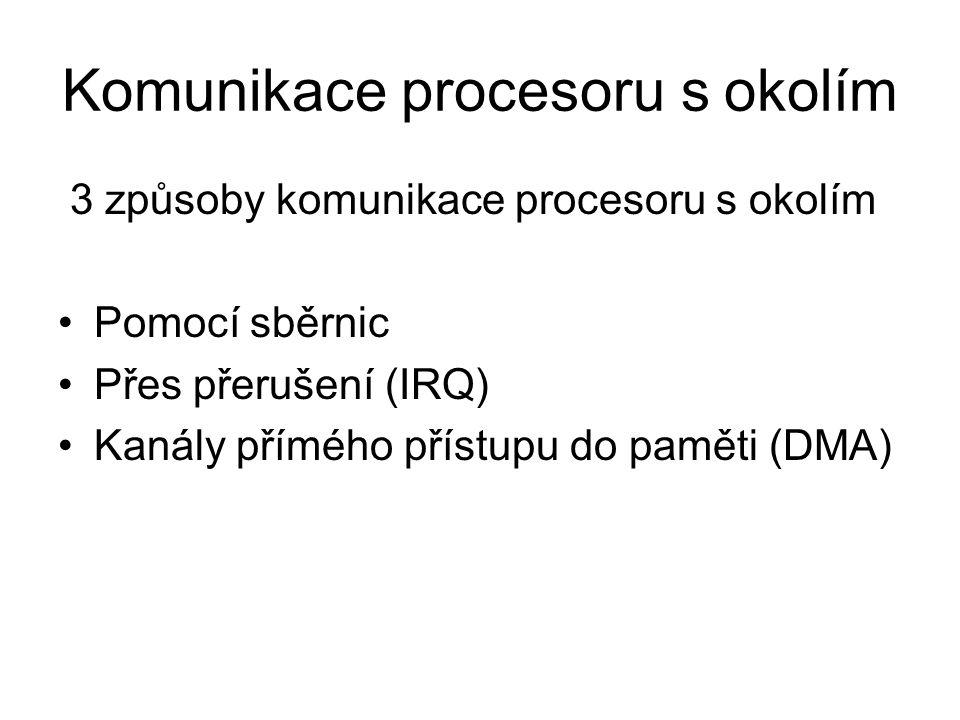 3 způsoby komunikace procesoru s okolím Pomocí sběrnic Přes přerušení (IRQ) Kanály přímého přístupu do paměti (DMA)