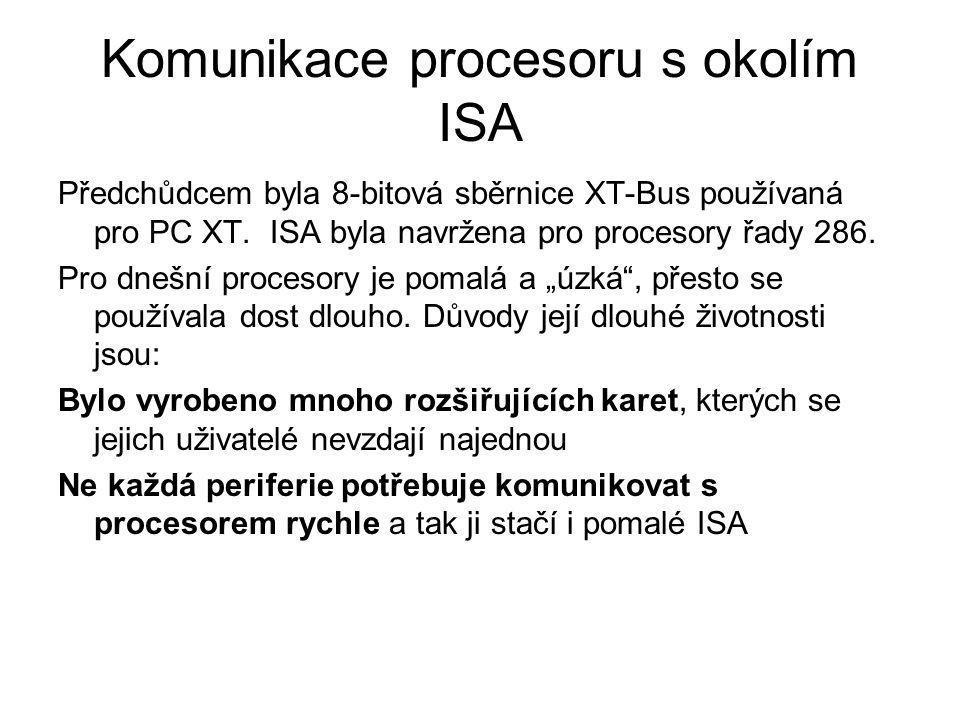 """Předchůdcem byla 8-bitová sběrnice XT-Bus používaná pro PC XT. ISA byla navržena pro procesory řady 286. Pro dnešní procesory je pomalá a """"úzká"""", přes"""