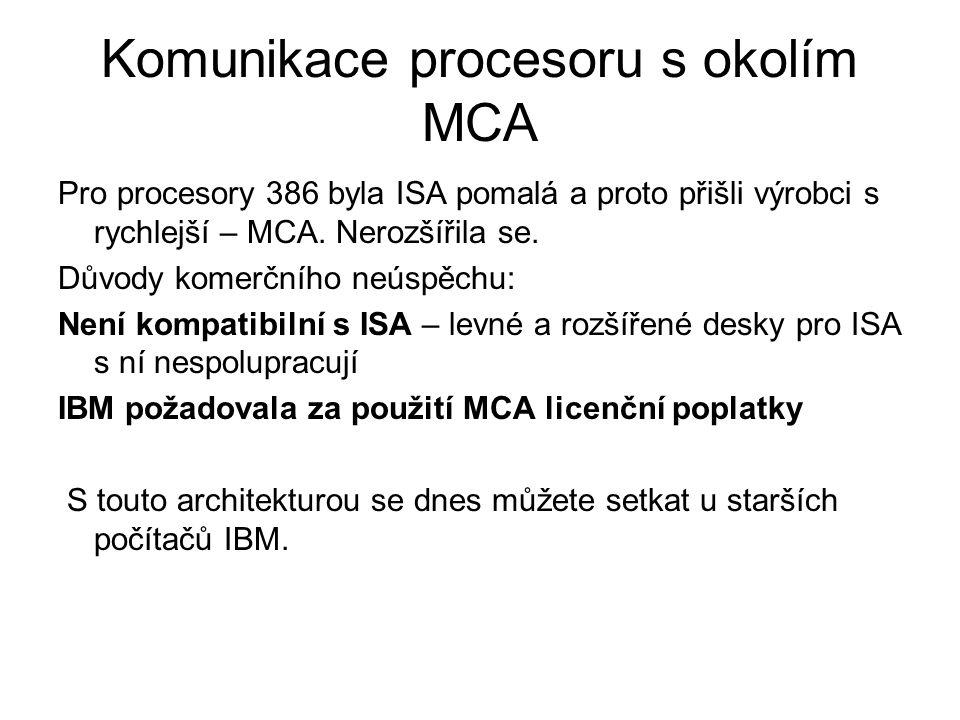 Komunikace procesoru s okolím MCA Pro procesory 386 byla ISA pomalá a proto přišli výrobci s rychlejší – MCA. Nerozšířila se. Důvody komerčního neúspě