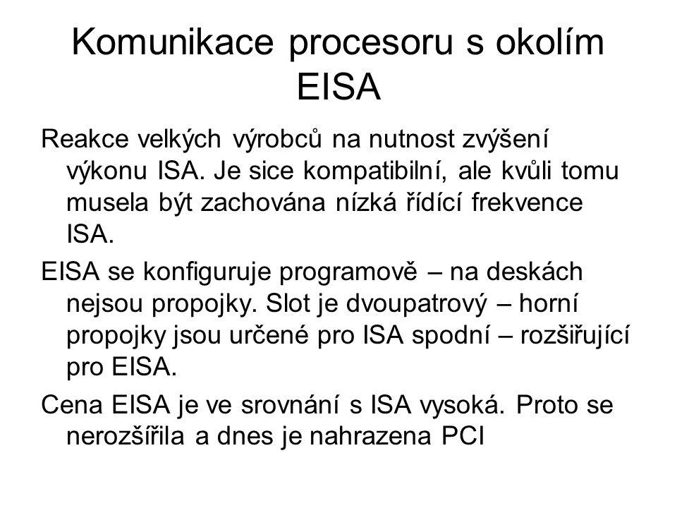 Komunikace procesoru s okolím EISA Reakce velkých výrobců na nutnost zvýšení výkonu ISA. Je sice kompatibilní, ale kvůli tomu musela být zachována níz