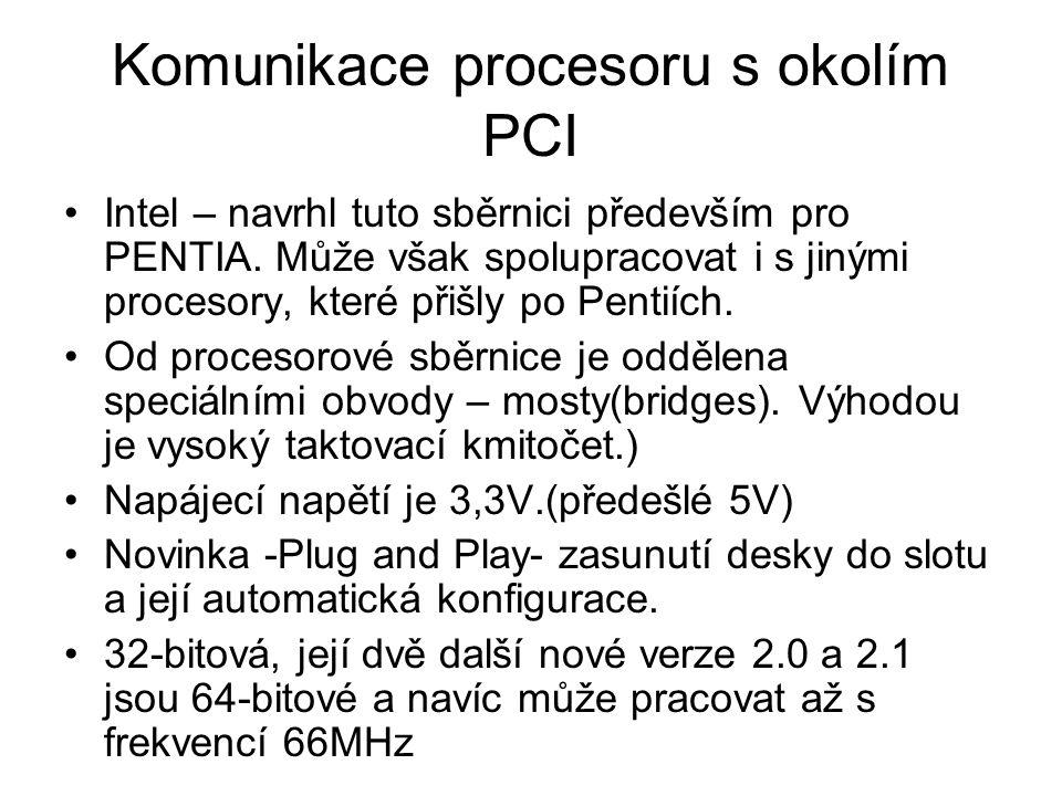 Intel – navrhl tuto sběrnici především pro PENTIA. Může však spolupracovat i s jinými procesory, které přišly po Pentiích. Od procesorové sběrnice je