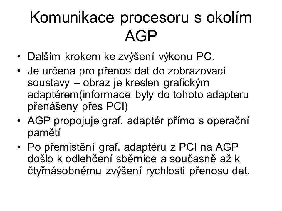 Komunikace procesoru s okolím AGP Dalším krokem ke zvýšení výkonu PC. Je určena pro přenos dat do zobrazovací soustavy – obraz je kreslen grafickým ad